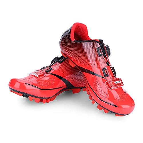 Dilwe Zapatillas de Ciclismo 1 Par Transpirables con Almohadilla Interior Suave para Ciclismo de Montaña Bicicletas (42-Rojo)