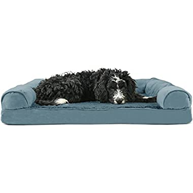 Furhaven Pet Dog Bed | Orthopedic Ultra Plush Sofa-Style Couch Pet Bed for Dogs & Cats, Deep Pool, Large