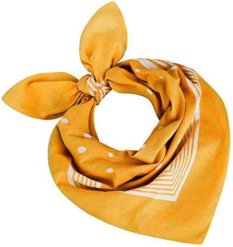 Tobeni 000803 Damen Herren Nickituch Kopftuch Bandana Halstuch Punkte Baumwolle Unisex Farbe Gelb Grösse 55 cm x 55 cm