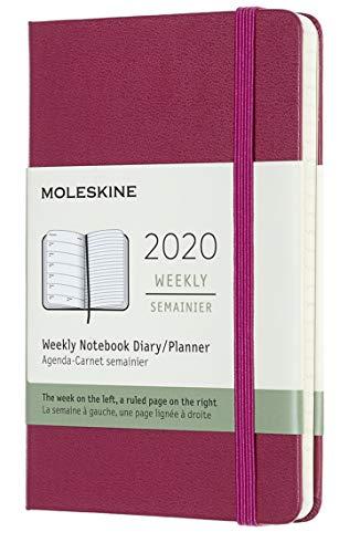 (modello precedente) - Moleskine 12 Mesi, anno 2020 Agenda Settimanale, Copertina Rigida e Chiusura ad Elastico, Colore Rosa Brillante, Dimensione Pocket 9 x 14 cm, 144 Pagine