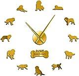 youmengying Co.,ltd Reloj De Pared para La Sala De Estar Perro DIY Reloj De Pared Gigante Espejo Sin Marco Etiqueta De Superficie Mesa Colgante De Pared Grace Pet Decoración del Hogar De La Tienda