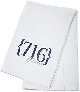 Buffalo, New York - 716 Area Code (Blue) (100% Cotton Kitchen Towel)
