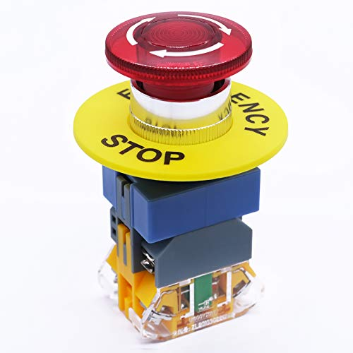 mxuteuk 22mm 1 NC 1 NO 110V LED Light Red Mushroom Emergency Stop Push Button Switch with Light 440V 10A, LAY37-11ZSD