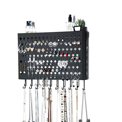 JackCubeDesign Wall Mounted Jewelry Organizer Earring Necklace Bracelet Holder Display Hanger with 109 Holes amp 19 Hooks Black165 x 24 x 132 inches  MK329A