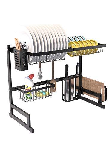 RETMI Over Sink - Escurridor para organizar la cocina con vajilla, cesta para botellas, cuchillos y tabla de cortar para encimeras de cocina, 5 ganchos, acero inoxidable, color negro, 65 cm
