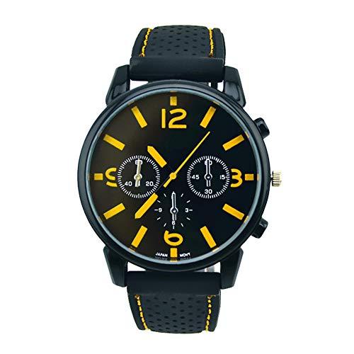 Mode de Silicona Reloj de Pulsera Cuarzo Auto fríos Reloj para Hombres con batería (Amarillo)