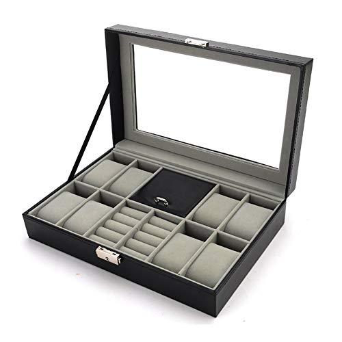 Uhren Box Herren Damen Geschenk: Schwarz Leder Uhr Schmuck Aufbewahrung - Uhrenbox Aufbewahrungsbox für Männer - Watch Geschenke Organizer - Mann Ring Schmuckkasten mit Klein Kissen & Glas Deckel