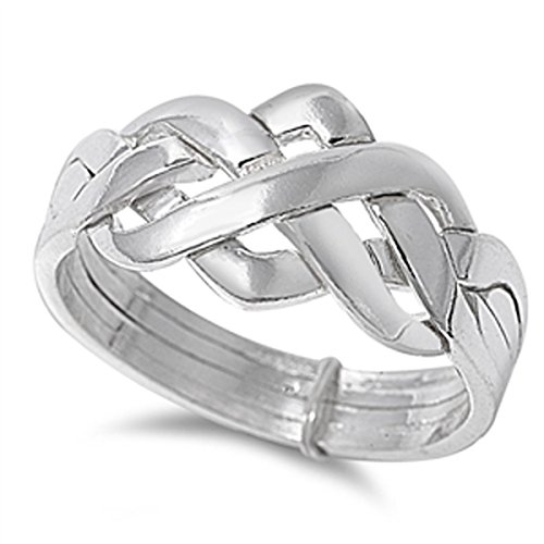 Sterling Silver Women's Celtic Knot Puzzle Ring (Sizes 4-13) (Ring Size 10)