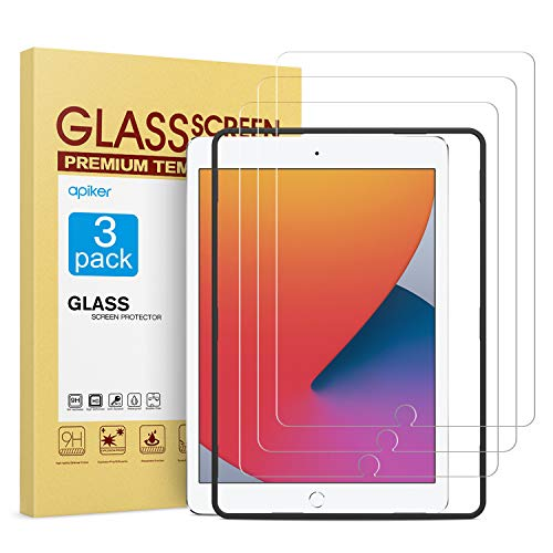 apiker [3 Packs] Protector Pantalla Tablet Compatible con iPad 8 7 10.2 2019 2020 A2197 A2198 A2200 (7.ª    8ª generación), Cristal Templado Tablet Premium [9H Dureza] [Alta Definición]