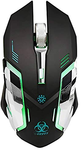 WFB Wireless Gaming Mouse Rechargeable, 2.4G Silent Optical Wireless Computer Mice with Changing Breathing Backlit,3 Adjustable DPI Up to 2400 for Laptop,PC,MacBook etc (Updated Version,Black)
