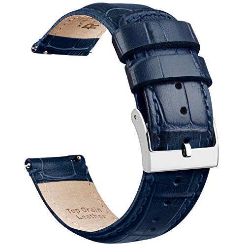 Ritche 22mm Watch Band Quick Release Watch Straps Navy Blue crocodile Leather Watch Bands for Men Women