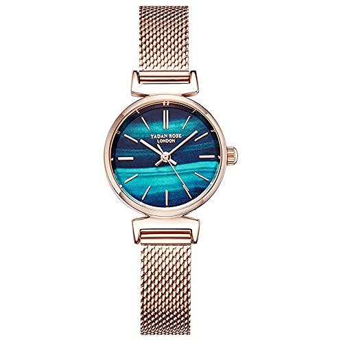 YIXINHUI Reloj de Cuarzo Mujeres de la Manera pequeño dial del Reloj Impermeable niñas Casual Cielo Estrellado del Color del gradiente de Malla Banda de Reloj de Cuarzo (Color : A)