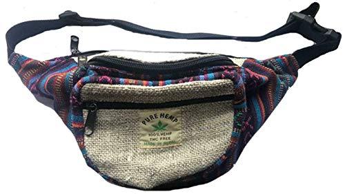 TERRAPIN Hombres Mujeres cáñamo Hip cinturón de Cintura riñonera Festival Bumbag Travel Money Belt N210 BLU