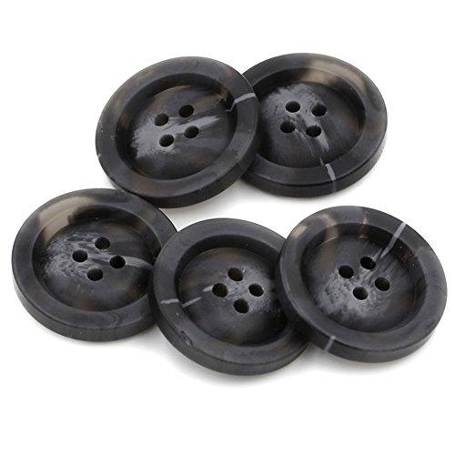 10 botones de resina para abrigo, para manualidades, patrones de costura, 4 agujeros, negro, 25 mm