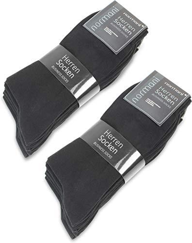 normani 10, 20 oder 30 Paar Classic Herrensocken - Alltagssocken - Berufssocken - Freizeitsocken für Männer Farbe Schwarz 10 Paar Größe 35/38