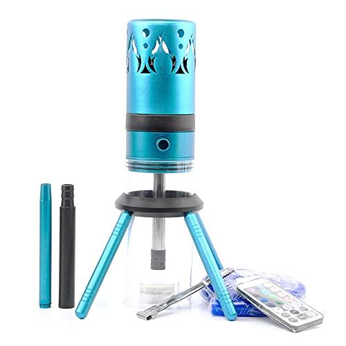 Wan&ya Juego Mediano de cachimba Shisha, Botella de Cohete Creativa, cachimba de Aluminio con Control Remoto LED, 1 Manguera/luz LED, Disfrute de Fumar en cachimba,Azul