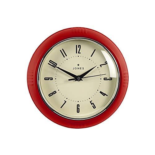 Jones Clocks Reloj de pared retro perfecto para cocina, hogar, dormitorio, oficina, 25 cm (rojo cereza)
