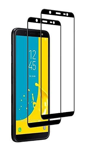 WEOFUN 3D Panzerglas Samsung Galaxy J6 2018, [2 Stück] 9H Härte, Anti-Kratzer, Schutzfolie, Anti-Öl, Anti-Bläschen, Panzerglasfolie -Schwarz