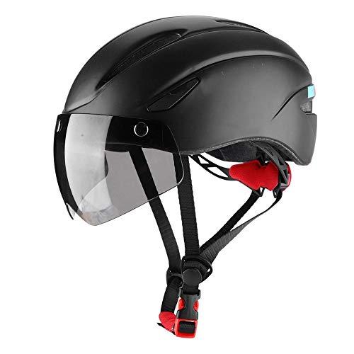 Casco De Bicicleta De Ciclismo Con Luz y Gafas Mtb Casco De Ciclismo Integral Con Diseño Aerodinámico De Ventilación Casco De Bicicleta De Seguridad De Ciclismo Para Ciclismo De Carretera(Black)