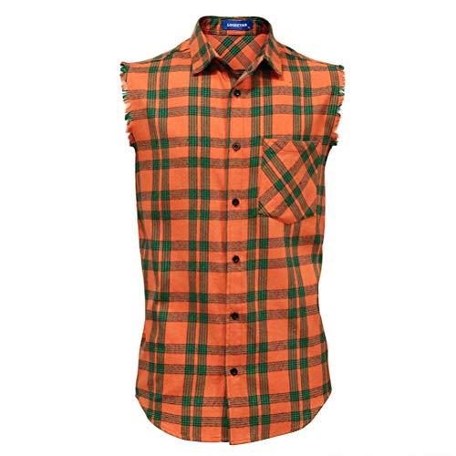 LOGEEYAR Men's Sleeveless Shirt Plaid Flannel Shirt, Button Down Casual Shirts Vest Shirt Orange