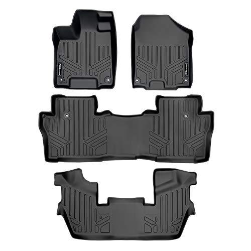 MAXLINER Custom Fit Floor Mats 3 Row Liner Set Black for 2016-2021 Honda Pilot 7 Passenger Model