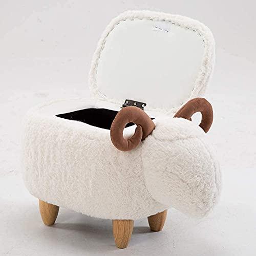 Ottomans Animales Ovejas Taburete de almacenamiento para niños Ottomanos Puerta de felpa Banco de zapatos 4 Piernas Sólido Madera Taburete tapizado Removible Limpio L65XW35XH38CM ( Color : White )