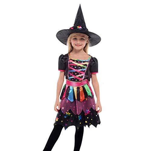 Gift Tower Disfraz de bruja para niña, vestido de bruja, arco iris, disfraz infantil para Halloween, carnaval, cosplay, multicolor, M para 110 – 120 cm