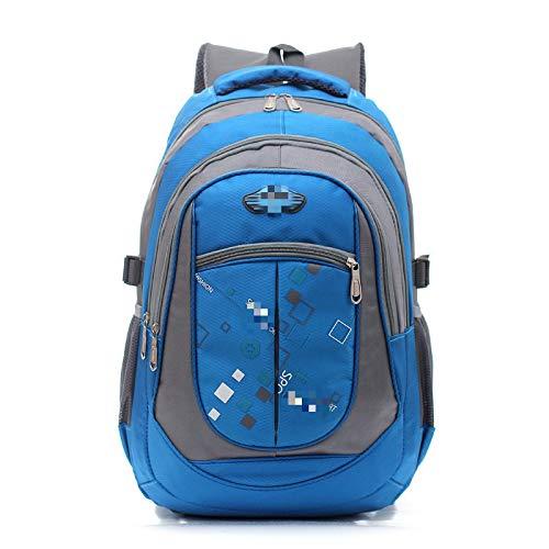MLOPPTE Moda niños mochilas escolares para adolescentes niñas niños mochilas escolares niños mochila hombres viaje portátil mochila azul