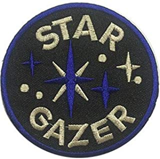 """Original Famous Patches & Appliques Space Star Gazer - Sew Iron On, Embroidered Original Artwork - Patch - 3.7"""" Round"""
