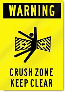 Decorative Metal tin Sign.Warning Crush Zone Keep Clear Vinyl Label Decal Sticker 8
