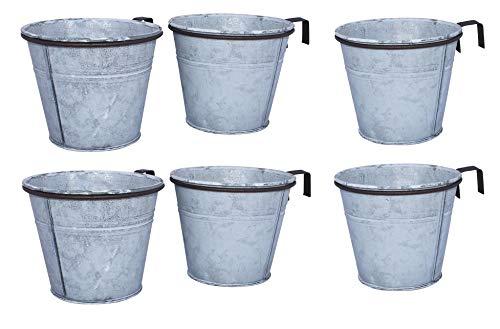 ARTECSIS 6er Set Pflanztopf mit Ringhalter, verzinkter Hängetopf, Blumentopf für Balkon Garten Geländer Palette 15 Ø