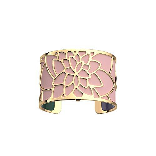 Les Georgettes - Bundle - Armreif in Gold 40mm Nenuphar See Rose inkl. Ledereinsatz Rosa/Petrol Grün