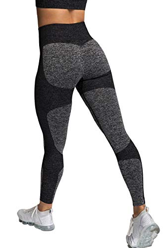 CMTOP Mallas deportivas para mujer sin costuras, pantalones de yoga y sujetadores deportivos súper elásticos sin costuras para mujer, con polainas de yoga para correr, entrenar el gimnasio Negro S
