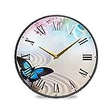 Reloj de Pared Mariposa Japonesa Zen y Flores de Sakura Números Romanos de...
