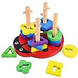 ColmandaHolzpuzzle für Kleinkinder, Kreatives Steckpuzzle, Steckspiel Motorik Türme Holz, Montessori Motorikspielzeug Steckspiel, Sortierund Stapelspielzeug, Lernspielzeug für Kinder Geburtztag