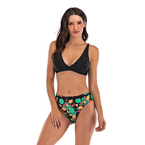 Sweetneed chida yi Bikinis para Mujer Push up con Relleno bañador Bikini con Estampado Bra Tops y Braguitas Bikini Talla Grande Bañador Vacaciones Halter Bikini Leopardo Verano (H2100-negro, L)