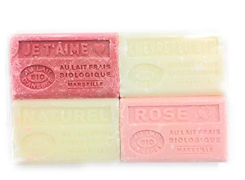 Label Provence - lot de 4 savons de Marseille Bio au lait d'ânesse - parfum : rose/je t'aime/chèvrefeuille/naturel - fabriqués à Marseille -4 x125 g