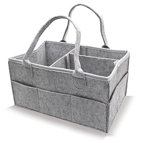 Cesta organizadora para pañales de bebé, portátil, grande, para guardería, con compartimentos intercambiables para cambiador, anillo de dentición, pañal, cesta de regalo para bebé (gris claro)