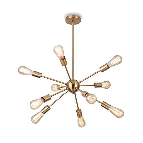 Glighone Sputnik Lampadario Modern sfera Lampada a sospensione con 10 E27 per soggiorno Camera da letto Loft, Ottone Senza Lampadina