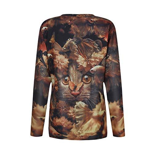 Pistaz Autumn Women's Korean Cute Long Sleeve Loose False Two-Piece Sweatshirts Hoodies for Women Pullover Graphic Funny Cute Cat Print Sweatshirts Teen Girls Trendy Tops Long Sleeve Shirts Plus Size