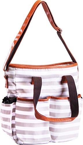 Utopia Home Diaper Bag Tote Adjustable Straps Trendy Stripes - White and Brown