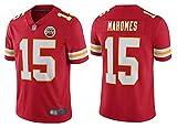 Herren American Football Jersey Kansas City Chiefs #15 Patrick Mahomes, Rugby Jersey bestickt American Football Jersey Kurzarm Sport Top T-Shirt - Rot - XXXL (195~200)