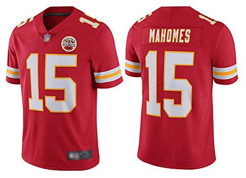 Herren American Football Jersey Kansas City Chiefs #15 Patrick Mahomes, Rugby Jersey bestickt American Football Jersey Kurzarm Sport Top T-Shirt - rot L (180~185)
