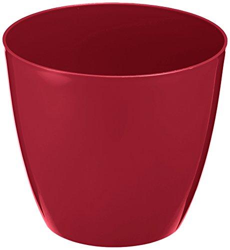 Plastkon Décoration Pot Decorative Flower Pot Ella Brillant Diamètre 21 cm, Rouge