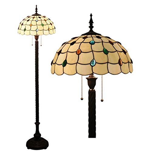 16 Inch Tiffany Style Floor Lamp Vintage Stained Glass Floor Lights Zipper Switch Decoration Reading Lamps for Living Room Bedroom Office Cafe