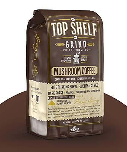 Mushroom Coffee – Ground Dark Roast Organic...