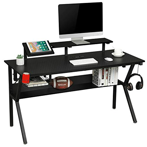 """Sedeta Gaming Desk with Storage Shelf, 55"""" Computer Desk, K-Shaped Gaming Table with Monitor Stand for Home Office, Gamer PC Workstation with Grommet Power Strip, Cup Holder, Headphone Hook, Black"""