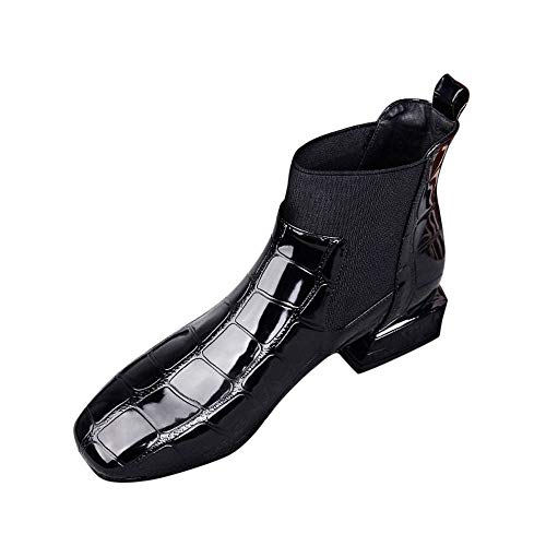 WUSIKY Stiefeletten Damen Boots Damen Bootsschuhe Square Toe Dicker Absatz Slip On Boots Lässige Lackschuhe (Schwarz, 40 EU)
