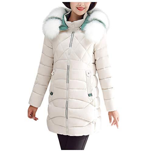 Kapian Damen Winter Jacke Steppjacke Mantel Parka Künstlicher Pelzkragen Gesteppt Warm mit Kapuze Stepp Daunen Optik Skijacke