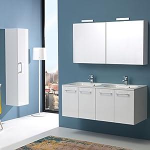 Kiamami Valentina Mueble DE BAÑO Boston 120 CM Cuatro Puertas Doble Lavabo Blanco Brillo Y Espejo CONTENEDOR